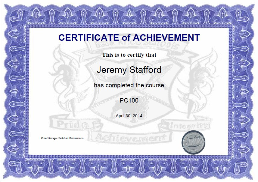 Jeremy Stafford pure storage certification